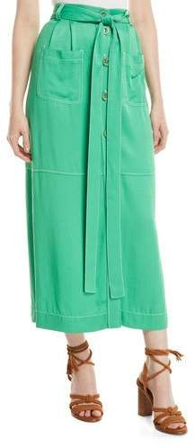 Long Button-Front Skirt with Pockets