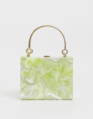 True Decadence structured resin clutch with metal grab handle-Green