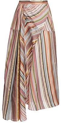 Rosie Assoulin Asymmetric Striped Stretch-Silk Skirt