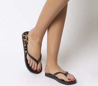 Office Seaside Ombre Toe Post Sandals Black Leopard