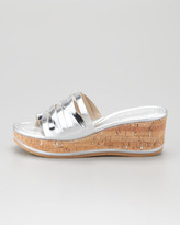 Donald J Pliner Sheena Metallic Wedge Slide, Silver