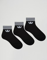 Adidas Originals 3 Pack Ankle Socks In Black Az5523