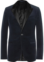 Lanvin Navy Slim-Fit Satin-Trimmed Cotton-Velvet Tuxedo Jacket