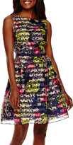 Danny & Nicole Sleeveless Floral Shadow Stripe Fit-and-Flare Dress