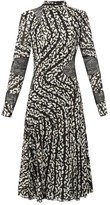 Proenza Schouler Lace-panel Printed Silk-blend Dress - Womens - Black White