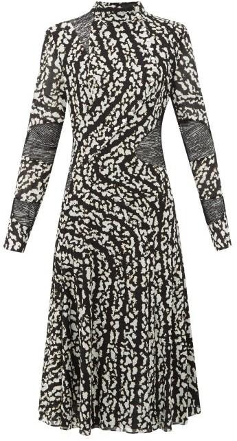 Proenza Schouler Lace-panel Printed Silk-blend Dress - Black White