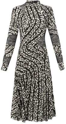 Proenza Schouler Lace-panel Printed Silk-blend Dress - Womens - Black White