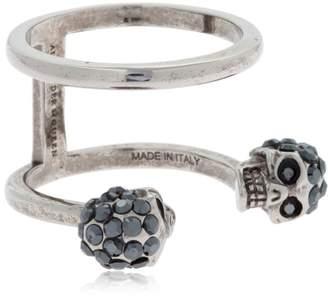 Alexander McQueen Silver Double Skulls Stacked Ring
