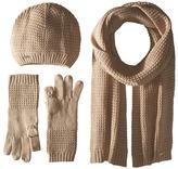 Calvin Klein Three-Piece Waffle Knit Hat/Gloves/Scarf Set