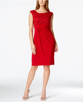 Connected Petite Sequined Lace Faux-Wrap Dress