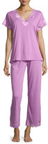 Natori Zen Floral-Lace Short-Sleeve Pajama Set, Violet