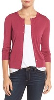 Women's Halogen Three Quarter Sleeve Crewneck Cardigan