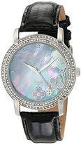Akribos XXIV Women's AK580BK Lady Diamond Swiss Quartz Diamond Dial Leather Strap Watch