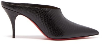 Christian Louboutin Quart 80 Lizard-effect Leather Mules - Black