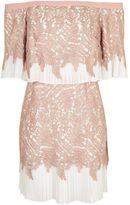 Topshop Leaf Pleat Bardot Mini Dress