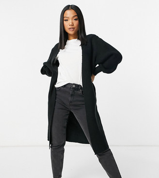 ASOS DESIGN Petite maxi edge to edge cardigan in black
