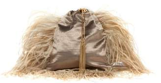 Rosantica By Michela Panero - Mademoiselle Feathered Velvet Cross Body Bag - Womens - Grey