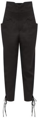 Isabel Marant Ubaia Lace-cuff Twill Trousers - Womens - Black
