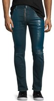 Just Cavalli Coated Slim-Fit Distressed Jeans, Blue