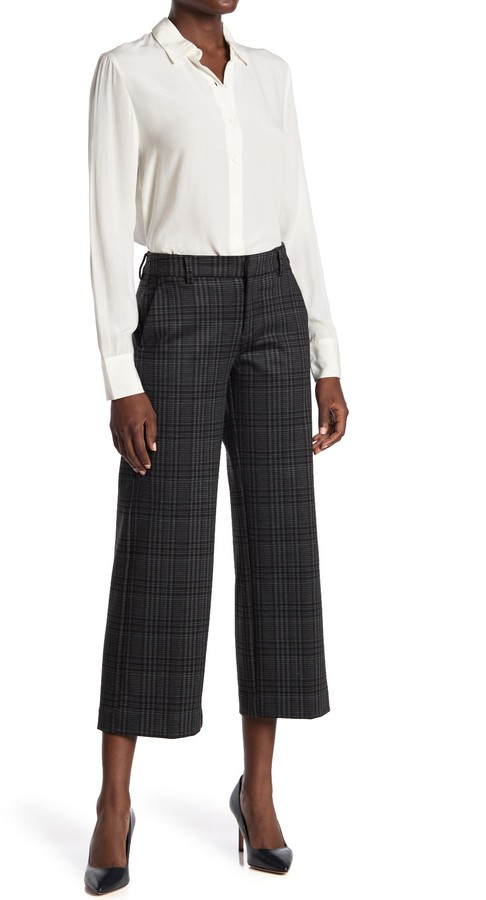 Liverpool Jeans Co Kelsey Glen Plaid Stovepipe Knit Wide Leg Ankle Trouser Shopstyle