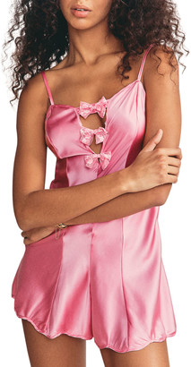 Morgan Lane Tilly Bow-Front Charmeuse Romper