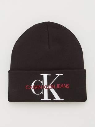 Calvin Klein Jeans Knitted Logo Beanie Hat - Black Beauty