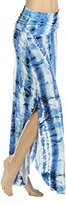 Three Dots Women's Tie Dye Print Curved Hem Maxi Skirt with Side Slits