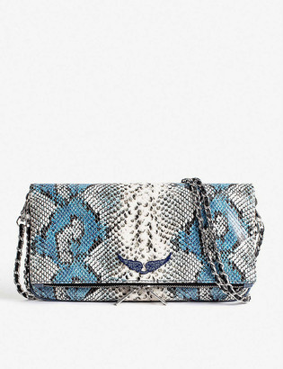 Zadig & Voltaire Rock snakeskin-print leather clutch