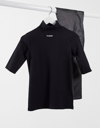 Hummel central logo polo neck in black