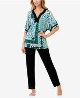 Ellen Tracy Cold-Shoulder Caftan and Pants Pajama Set