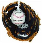Franklin Sports Teeball Performance Fielding Glove w/Ball, 9.5'' - Left Handed Throw - Black/Tan