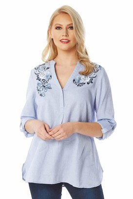 Roman Originals Womens Floral Embroidered Shirt - Ladies 100% Cotton 3/4 Sleeve Button Up Notch Neck Smart Casual Work Office Interview Holiday Travel Blouse Tops - Blue - Size 12