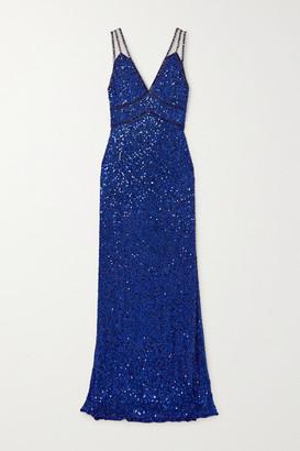 Jenny Packham Leya Tulle-trimmed Embellished Chiffon Gown - Royal blue