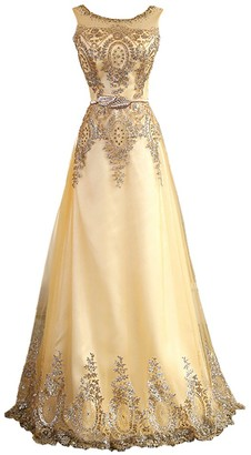 WAWALI Gorgeous Lace Crystal Beaded Embroidery Prom Dresses 24 Gold