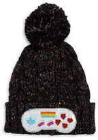 Bow And Drape Videogame Sequined Knit Hat