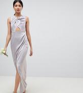 Asos Tall DESIGN Tall pearl trim twist front maxi dress