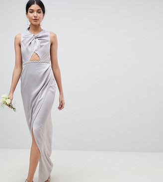 Asos Tall DESIGN Tall pearl trim twist front maxi dress-Grey