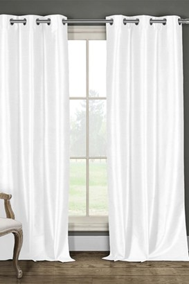 Duck River Textile Daenery's Faux Silk Foamback Grommet Curtains - Set of 2 - White