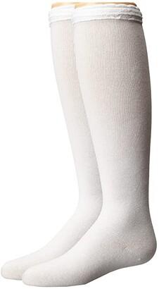 Jefferies Socks Ruffle Knee High Socks 2-Pair Pack (Toddler/Little Kid/Big Kid/Adult) (White/White) Girls Shoes