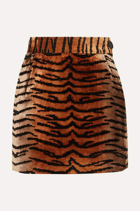 ATTICO Velvet-jacquard Mini Skirt - Brown