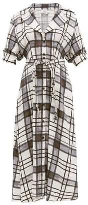 Aje - Theodora Checked Linen-blend Shirtdress - Womens - White Black
