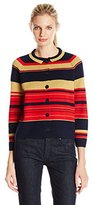 Anne Klein Women's Striped Gold Lurex Cardigan