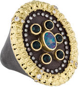 Armenta Opal, Tourmaline & Diamond Old World Ring w/ Tags
