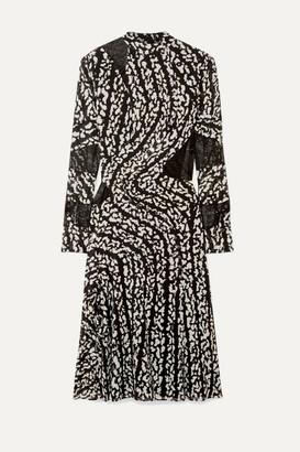 Proenza Schouler Studded Lace-paneled Printed Silk-blend Chiffon Midi Dress - Black