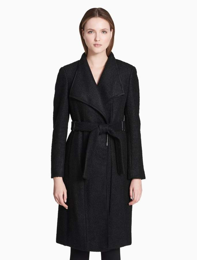 Calvin Klein crimped wool blend belted coat