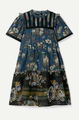 Sea Pascale Embroidered Floral-print Cotton-voile Mini Dress - Blue