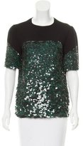 Vionnet Sequined Two-Tone Top