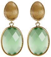 Rivka Friedman 18K Yellow Gold Clad Faceted Lime Green Cat's Eye Crystal Oval Drop Satin Earrings