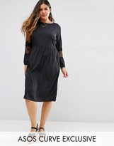 Asos Long Sleeve Midi Dress with Lace Inserts