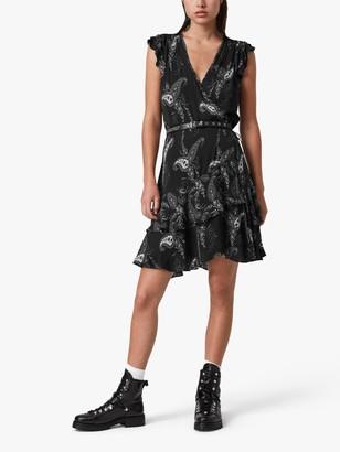 AllSaints Lani Floral Print Wrap Dress, Black
